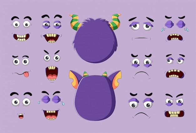 Monstro e rostos diferentes com emoções