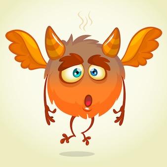 Monstro engraçado com chifres dos desenhos animados, ilustração de monstro animado