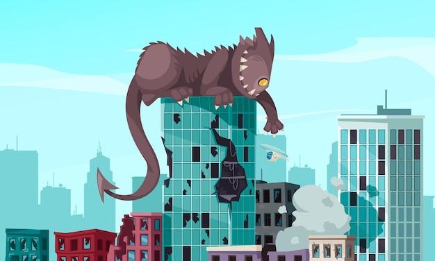 Monstro engraçado com dentes afiados e cauda longa sentado em cima de um edifício danificado.