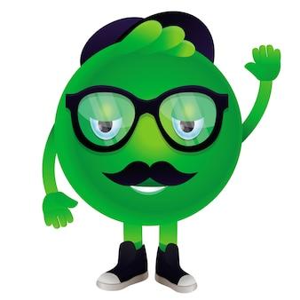 Monstro engraçado de vetor com bigode e óculos - personagem hipster