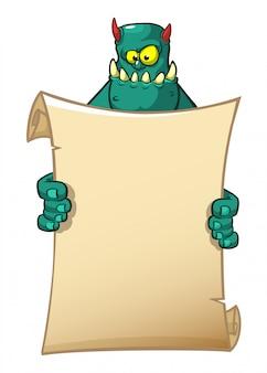 Monstro engraçado dos desenhos animados, segurando o papel em branco