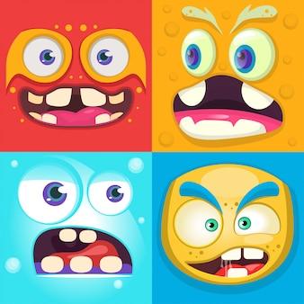 Monstro engraçado rosto definido. ilustração vetorial