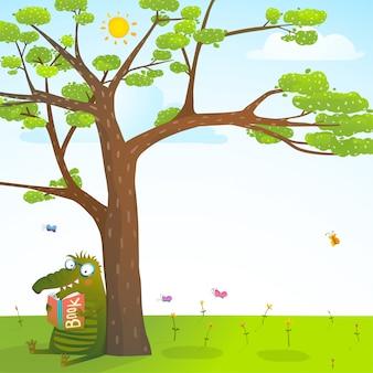 Monstro engraçado sob a árvore de verão, lendo o fundo do livro