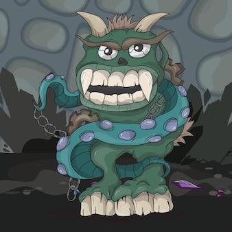 Monstro escuro de desenho animado irritado no subsolo - ilustração vetorial