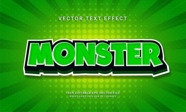 Monstro estilo de texto 3d com tema de estilo de desenho animado
