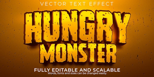 Monstro faminto com efeito de texto editável em estilo de desenho animado