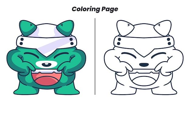 Monstro fofo com página para colorir