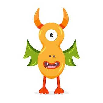Monstro laranja com asas verdes ilustração em vetor bonito personagem de desenho animado para crianças