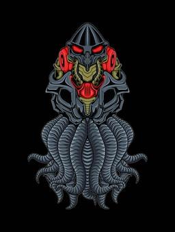 Monstro octopus mecha ilustração robot