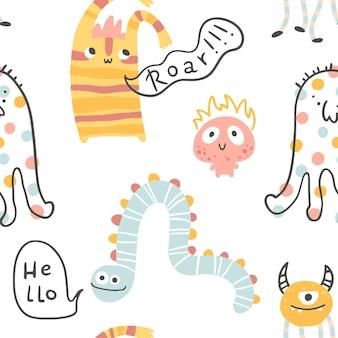 Monstro padrão sem emenda de halloween com letras bonitos personagens de desenhos animados em estilo escandinavo