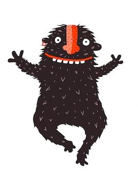 Monstro preto engraçado correr abraçando