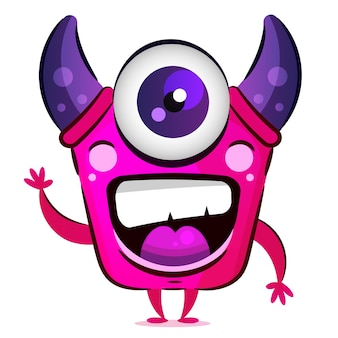Monstro rosa com chifres e ilustração de um olho para cartões postais, camisetas e acessórios.