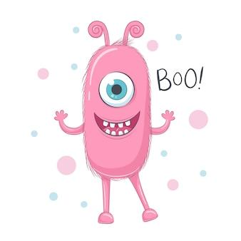 Monstro rosa fofo com a frase
