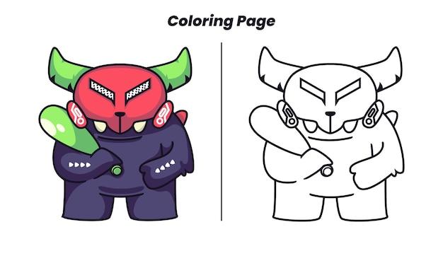 Monstro usando taco de bola com página para colorir