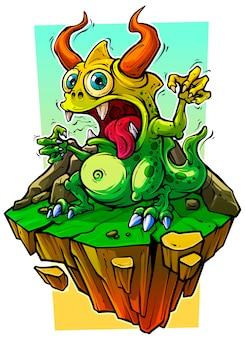 Monstro verde engraçado dos desenhos animados na rocha de pedra