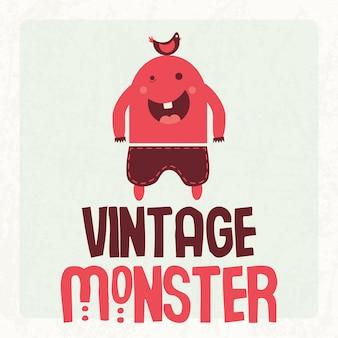 Monstro vintage fofo e colorido