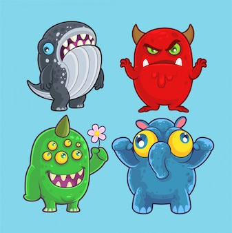 Monstros bonitos conjunto para ilustração e design