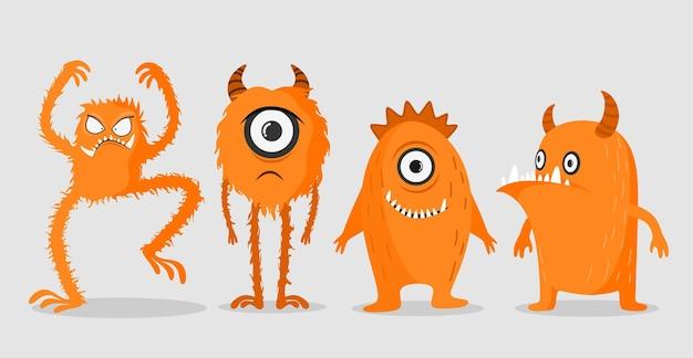 Monstros bonitos de desenho animado