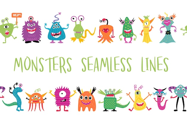 Monstros bonitos desenhados à mão, linhas sem costura