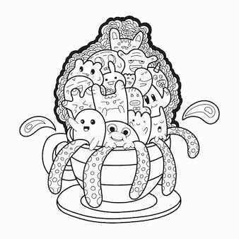Monstros bonitos dos desenhos animados explodindo do estilo de doodle de copa para colorir página de livro e desig