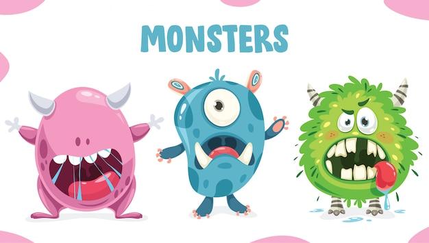 Monstros coloridos engraçados pouco posando