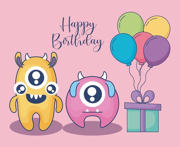 Monstros com balões de hélio e cartão de aniversário de presente