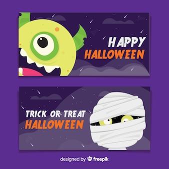 Monstros de banners plana de halloween