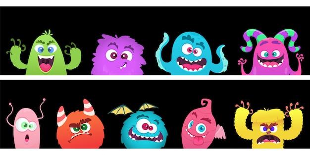 Monstros de desenho animado. modelo de banner com rosto de monstro de halloween