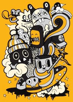 Monstros de halloween assustador bonito e doces, conjunto de monstro bonito engraçado