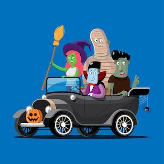 Monstros de halloween em um carro