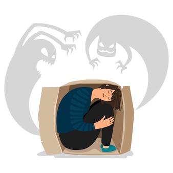 Monstros deprimidos assustadores e ilustração de menina triste