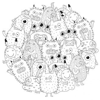 Monstros engraçados círculo padrão de forma