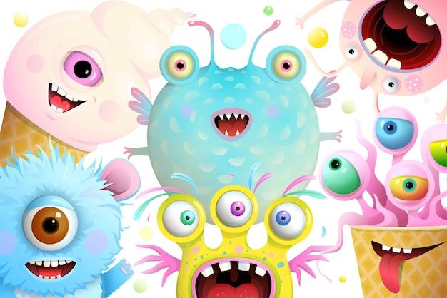 Monstros engraçados e criaturas imaginárias para cartão de felicitações ou convite para festival. monstros para crianças