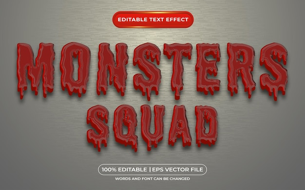 Monstros esquadrão de texto editável com efeito de sangue e estilo de texto zumbi