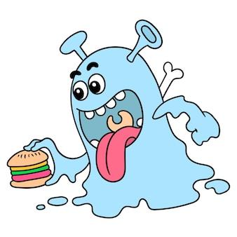 Monstros famintos trouxeram hambúrgueres para comer, doodle desenhar kawaii. arte de ilustração