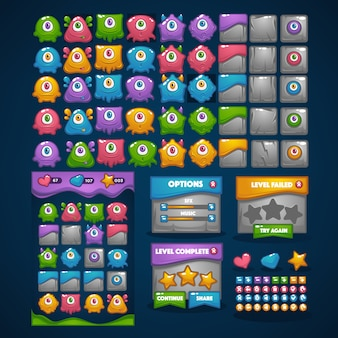 Monstros felizes, jogo 3, grande coleção de desenhos animados, personagens, elementos, gui, interface do usuário para seu próprio jogo para celular