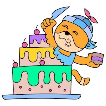 Monstros fofos estão desfrutando de um bolo de aniversário gigante. ilustração arte, doodle ícone imagem kawaii.