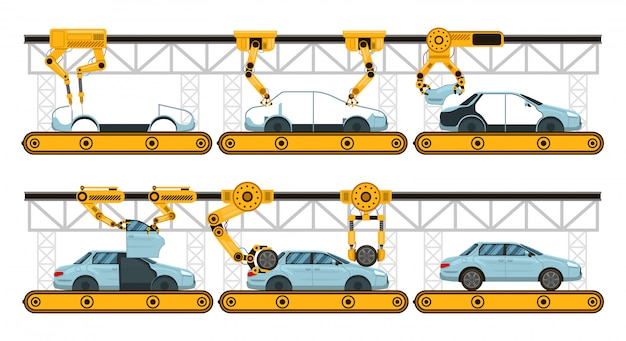 Montagem de automóveis. transportador de montagem de carro de fábrica, fabricação de braços robóticos automotivo, conjunto de ilustração de processo de automação industrial. transportador de robô automático, processo do braço de montagem