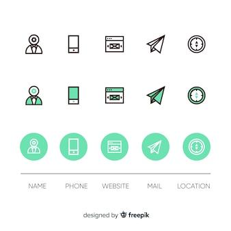 Montagem de ícones de cartão de visita
