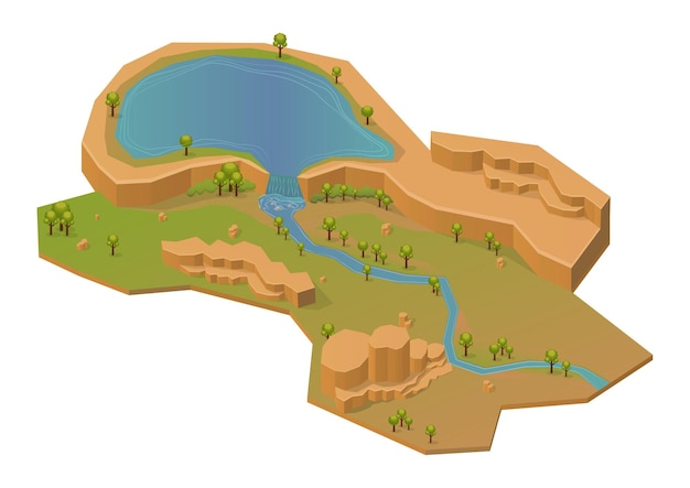 Montagem de rocha isométrica com lago e rio. isolado no branco