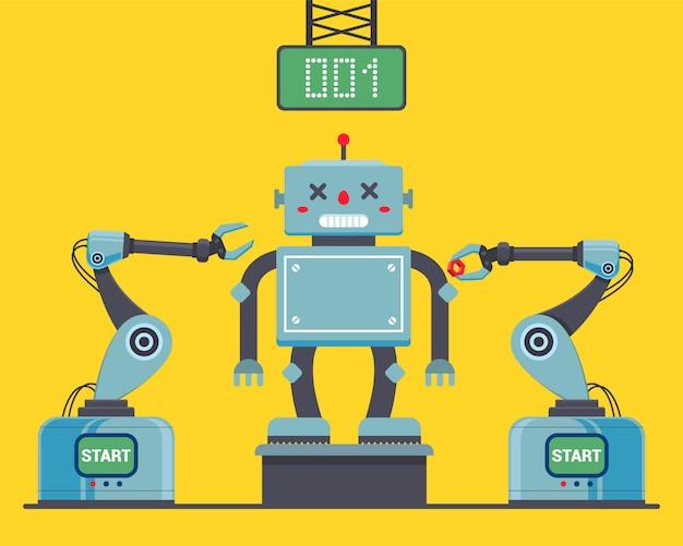 Montagem do robô na fábrica usando ilustração de clichês robóticos.