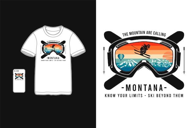 Montana conhece seus limites, maquete da camiseta da silhueta da mercadoria