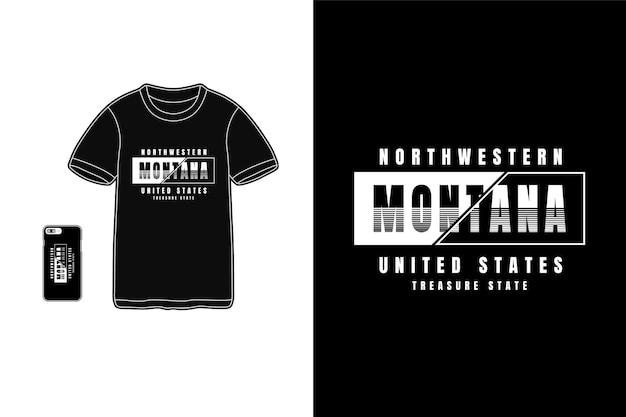 Montana, tipografia de maquete de camiseta