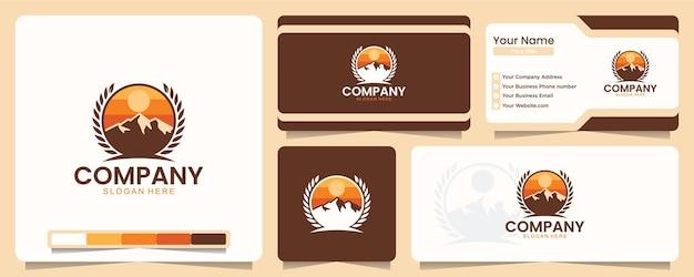 Montanha, ar livre, aventura, camiseta, design de logotipo e cartão de visita