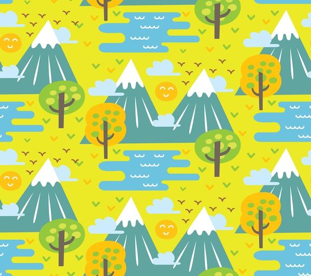 Montanha, árvore e lago em plano de estilo simples