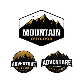Montanha, aventura, logotipo ao ar livre