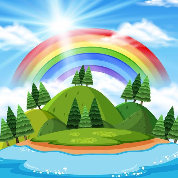 Montanha beautilful com fundo do arco-íris
