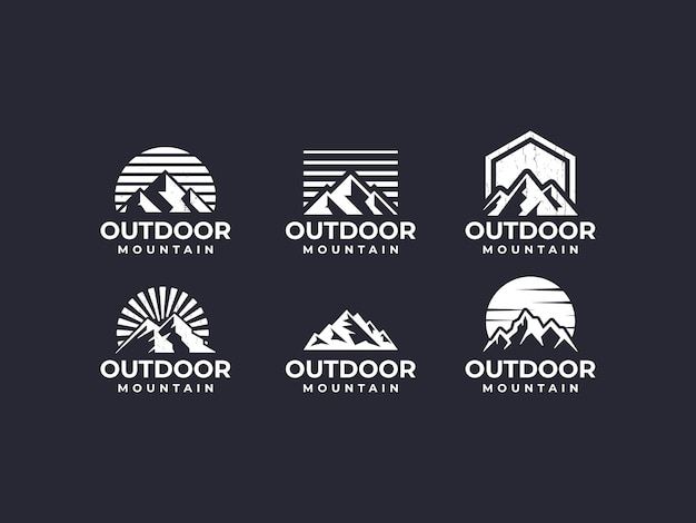 Montanha, cenário de montanha, logotipo de montanha ao ar livre