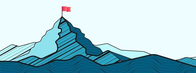 Montanha com bandeira no topo ilustração