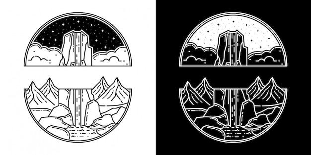 Montanha com cascata monoline design
